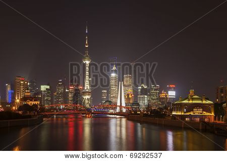 Shanghai Pudong at Night, China