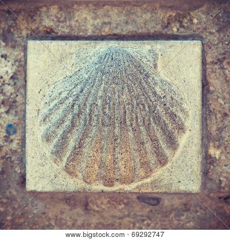 Saint James scallop symbol on Way of St. James
