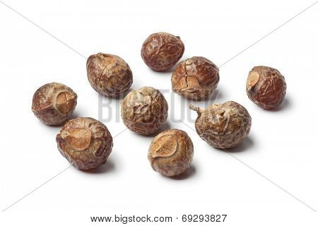 Soapnuts, biological detergent on white background