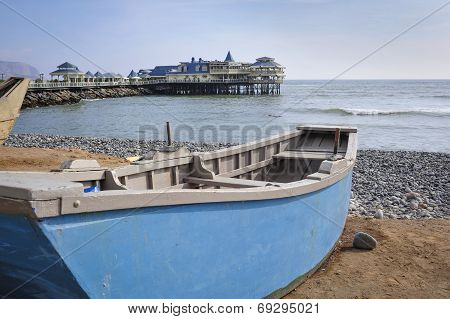 Boat Ate The Beach In Miraflores District In Lima