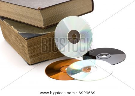 Old Thick Books And Cd On A White Background
