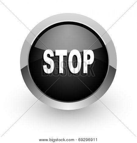 stop black chrome glossy web icon