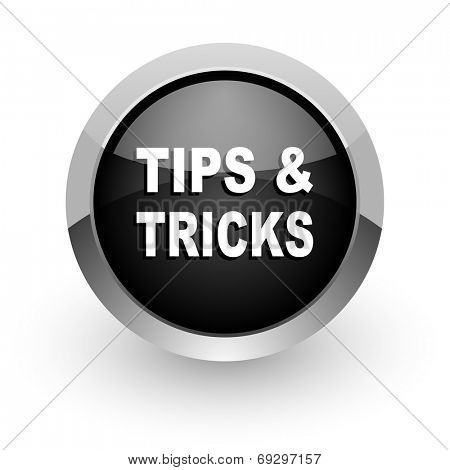 tips tricks black chrome glossy web icon