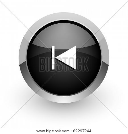 prev black chrome glossy web icon