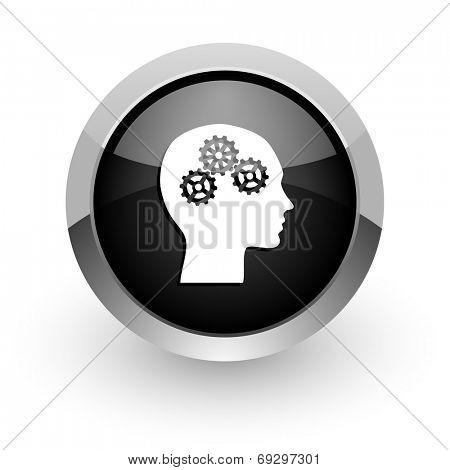 head black chrome glossy web icon