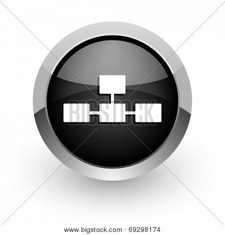 database black chrome glossy web icon