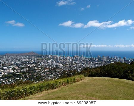 Park In The Mountains With View Of Diamondhead And The City Of Honolulu On Oahu On A Nice Day