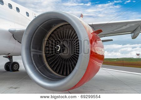 Red Engine Of A Commercial Plane