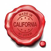 picture of credential  - made in California red wax seal over white background - JPG