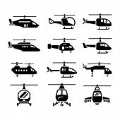 image of rescue helicopter  - Set icons of helicopters isolated on white - JPG
