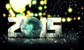 image of orbs  - Blue Orb 2015 Snow 3D Bokeh City Background - JPG
