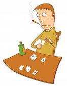 image of gambler  - Illustration of a gambler choosing some cards on his hand - JPG