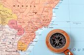 picture of brasilia  - Compass on a map pointing at Brazil and planning a travel destination - JPG