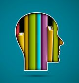 pic of academia  - Silhouette of head with books - JPG