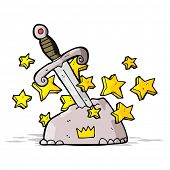 picture of arthurian  - cartoon magical sword in stone - JPG