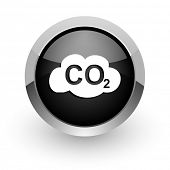 pic of carbon-dioxide  - carbon dioxide chrome glossy web icon - JPG
