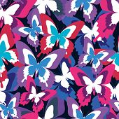 stock photo of flying-insect  - Beautiful background seamless pattern with flying violet red blue butterflies over black - JPG