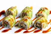 stock photo of dragon-fish  - Dragon roll maki sushi Japanese food styles - JPG