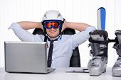 stock photo of hamlet  - Happy smiling business man in ski hamlet and mask - JPG