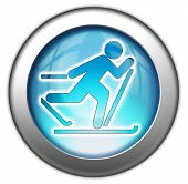 picture of nordic skiing  - Icon Button Pictogram with Cross - JPG