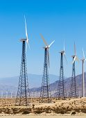 foto of wind-power  - Wind powered alternate energy power generating farm in southern California - JPG