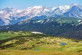 stock photo of snowy hill  - Colorado Rocky Mountains Panorama - JPG