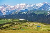 foto of snowy hill  - Colorado Rocky Mountains Panorama - JPG