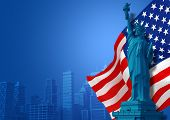 pic of statue liberty  - Blue American Background Illustration - JPG