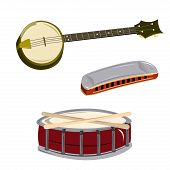 image of banjo  - a banjo a harmonic and a drum with drumsticks in a white background - JPG
