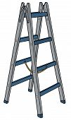 foto of step-ladder  - hand drawing of a metal step ladder - JPG