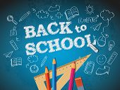 foto of pencil eraser  - Back to school poster with doodles and pencils - JPG