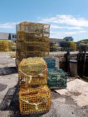 image of lobster trap  - Lobster traps in fishing village of Rockport Massachusetts - JPG