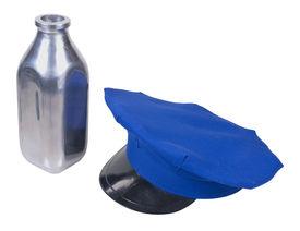 stock photo of milkman  - Milkman delivery hat and silver milk bottle  - JPG