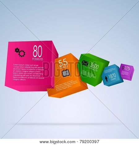 Abstract Info Graphic With Colorful Cubes