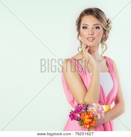 delicate image of a beautiful woman girl like a bride with bright makeup hairstyle with flowers rose