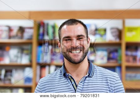 Portrait Of A Man In A Bookstore