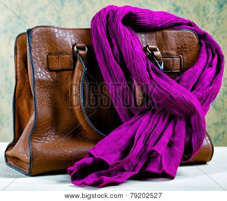 Brown Leather Bag And Violet Scarf