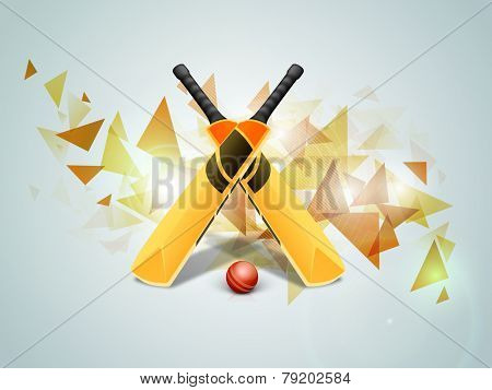 Shiny bats with red ball on stylish blue background for Cricket sports concept.
