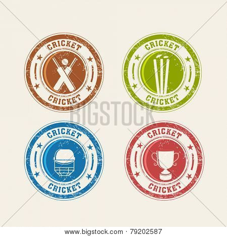Colorful Cricket rubber stamps with bat, ball, wicket stumps, helmet and winning trophy.