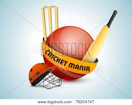 Red ball with bat, helmet and wicket stumps on hi-tech background for Cricket Mania.