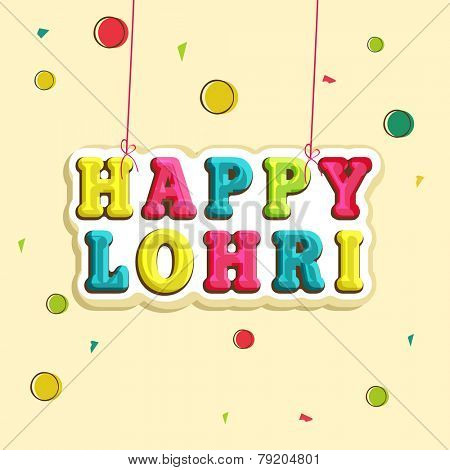 Poster, banner or flyer with colorful hanging text Happy Lorhi on decorated beige background.