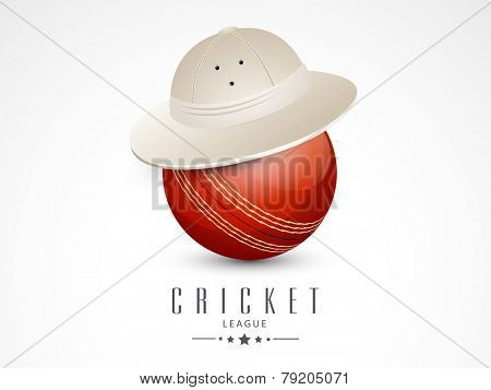 Shiny red ball in hat for Cricket League concept.