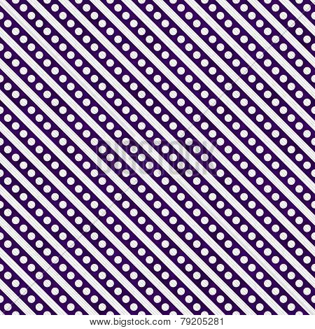 Dark Purple And White Small Polka Dots And Stripes Pattern Repeat Background