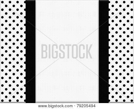 Black And White Polka Dot Frame With Ribbon Background
