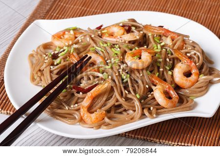 Soba Noodles With Shrimp And Sesame Seeds Horizontal