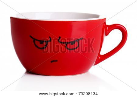 Emotional cup isolated on white