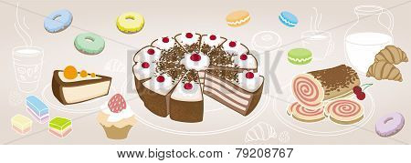Horizontal Set Of Desserts And Pastries, Symbolizing A Coffee Shop