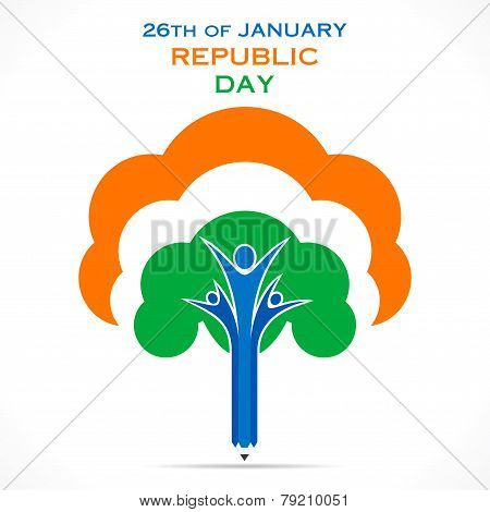 creative republic day greeting design with tree or unity concept design vector