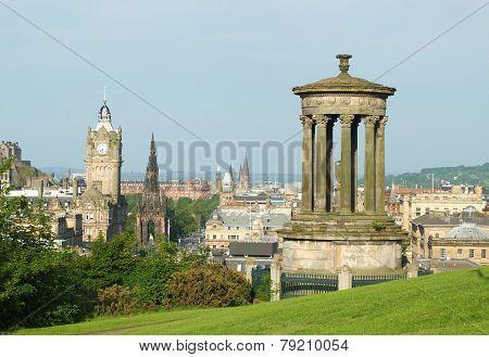 Edinburgh skyline and Dugald Stewart Monument as seen from Calton Hill