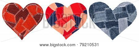 Jeans Heart Shape Patch Object With Stitches Seam, Decorative Fabric  Joint Isolated White Backgroun